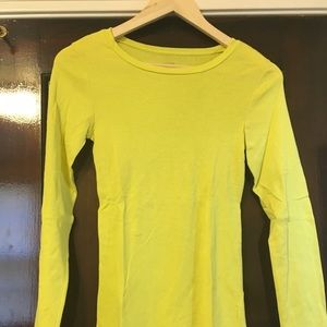 Jcrew Yellow LS Fitted Tee Size Small